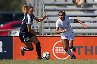 Sanford, FL - Saturday Oct. 14, 2017:  A Pride player cuts inside and away from pressure during a US Soccer Girls' Development Academy match between Orlando Pride and NC Courage at Seminole Soccer Complex. The Courage defeated the Pride 3-1.