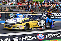 Jul 26, 2015; Morrison, CO, USA; NHRA pro stock driver Allen Johnson during the Mile High Nationals at Bandimere Speedway. Mandatory Credit: Mark J. Rebilas-USA TODAY Sports