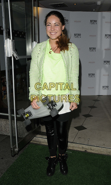 Louise Thompson<br /> attended Francesca 'Cheska' Hull's 27th birthday party, Retro Feasts restaurant within Embassy nightclub, Old Burlington St., London, England, UK, 7th June 2013.<br /> full length green jacket tweed skateboard leather black trousers yellow top <br /> CAP/CAN<br /> &copy;Can Nguyen/Capital Pictures