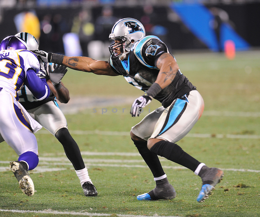 CAPTAIN MUNNERLYN, of the Carolina Panthers, in action during the Panthers game against the Minnesota Vikings on December 20, 2009 in Charlotte, North Carolina. Panthers won 26-7.