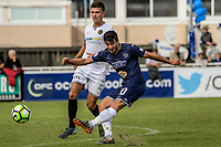 Auckland's Emiliano Tade shoots for goal during the 2018 OFC Champions League semifinal between Auckland City FC and Team Wellington at Kiwitea St in Auckland, New Zealand on Sunday, 29 April 2018. Photo: Dave Lintott / lintottphoto.co.nz