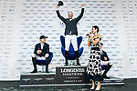 Patrice Delaveau of France riding Aquila HDC celebrates winning the Longines Grand Prix, with the second placed Max Kuhner of Austria riding Clelito Lindo 2 and the third placed Daniel Deusser of Germany riding Cornet D'Amour during the Longines Masters of Hong Kong at AsiaWorld-Expo on 11 February 2018, in Hong Kong, Hong Kong. Photo by Diego Gonzalez / Power Sport Images