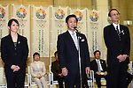 (L to R) Rie Tanaka, Koji Gushiken, Ryosho Tanigama, FEBRUARY 28, 2013 : Tokyo Olympic and Paralympic Games 2020 bidding committee held the conclusion of a cooperation with a university and Tokyo agreement ceremony .in order to advance the bidding activities of Tokyo Olympic and Paralympic Games 2020. at Tokyo Metropolitan Government Office in Tokyo, Japan. (Photo by Jun Tsukida/AFLO SPORT)