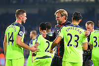 Emre Can of Liverpool, Manager Jurgen klopp and Jordan Henderson of Liverpool during the EPL - Premier League match between Crystal Palace and Liverpool at Selhurst Park, London, England on 29 October 2016. Photo by Steve McCarthy.