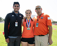 Oxy star thrower Sabrina Degnan '19 won the hammer and the javelin on Day 1.<br /> The Occidental College men's and women's track and field teams compete in the 2019 Southern California Intercollegiate Athletic Conference (SCIAC) Track and Field Championships at the Claremont-Mudd-Scripps Burns Track Complex in Claremont, Calif. on Saturday, April 27, 2019.<br /> After the two-day SCIAC Championships CMS scored 211.50 points, followed by Pomona-Pitzer (171.50), Redlands (114), Occidental (92.50), Whittier (57.50), La Verne (54), Cal Lutheran (48), Chapman (23) and Caltech (4). <br /> <br /> (Photo by Eddie Ruvalcaba, Image of Sport)