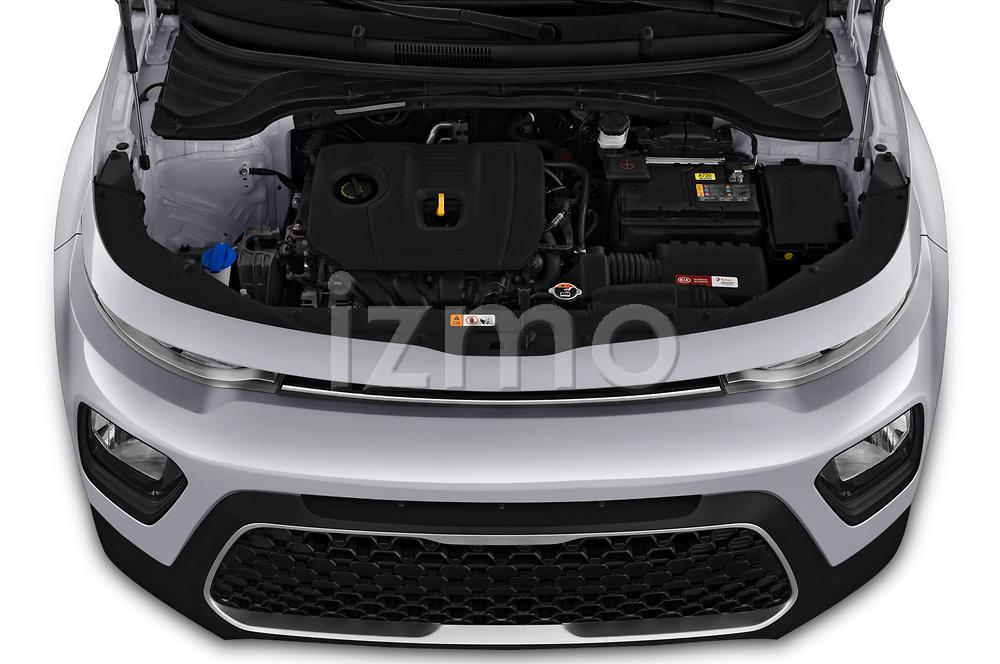 Car Stock 2020 KIA Soul S 5 Door Hatchback Engine  high angle detail view