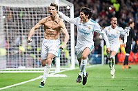 Real Madrid Cristiano Ronaldo and Jesus Vallejo celebrating a goal during Champion League match between Real Madrid and Juventus at Santiago Bernabeu Stadium in Madrid, Spain. April 11, 2018. (ALTERPHOTOS/Borja B.Hojas) /NortePhoto.com