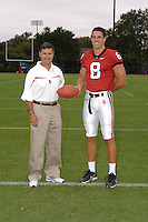 7 August 2006: Stanford Cardinal head coach Walt Harris and Evan Moore during Stanford Football's Team Photo Day at Stanford Football's Practice Field in Stanford, CA.