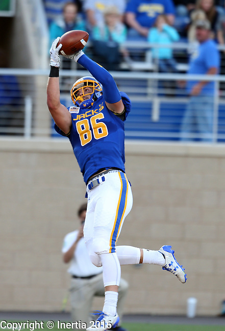 BROOKINGS, SD - SEPTEMBER 24:  Dallas Goedert #86 from South Dakota State University hauls in a touchdown pass against Western Illinois in the first half of their game Saturday evening at Dana J. Dykhouse Stadium in Brookings. (Photo by Dave Eggen/Inertia)