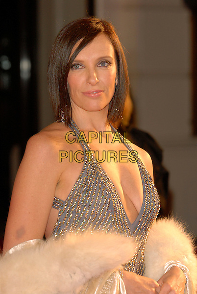 TONI COLLETTE.Red Carpet Arrivals at The Orange British Academy Film Awards (BAFTA's) held at the Royal Opera House, Covent Garden, London, England, February 11th 2007..half length silver halterneck beaded dress grey.CAP/IL.©Ian Leonard/Capital Pictures