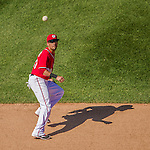 27 April 2014: Washington Nationals shortstop Ian Desmond gets Yonder Alonso Denorfia out in the 7th inning against the San Diego Padres at Nationals Park in Washington, DC. The Padres defeated the Nationals 4-2 to to split their 4-game series. Mandatory Credit: Ed Wolfstein Photo *** RAW (NEF) Image File Available ***