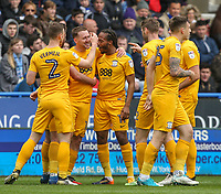 Preston North End's Aidan McGeady, second left, celebrates scoring his sides first goal with teammates <br /> <br /> Photographer Alex Dodd/CameraSport<br /> <br /> The EFL Sky Bet Championship - Huddersfield Town v Preston North End - Friday 14th April 2016 - The John Smith's Stadium - Huddersfield<br /> <br /> World Copyright &copy; 2017 CameraSport. All rights reserved. 43 Linden Ave. Countesthorpe. Leicester. England. LE8 5PG - Tel: +44 (0) 116 277 4147 - admin@camerasport.com - www.camerasport.com