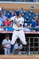 Taylor Motter (11) of the Durham Bulls at bat against the Indianapolis Indians at Durham Bulls Athletic Park on August 4, 2015 in Durham, North Carolina.  The Indians defeated the Bulls 5-1.  (Brian Westerholt/Four Seam Images)