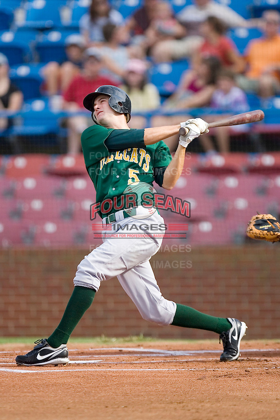 Jordy Mercer #5 of the Lynchburg Hillcats follows through on his swing versus the Winston-Salem Dash at Wake Forest Baseball Stadium August 30, 2009 in Winston-Salem, North Carolina. (Photo by Brian Westerholt / Four Seam Images)