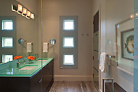 Contemporary bath with glass counter