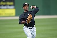 Kannapolis Intimidators pitcher Jaider Rocha (40) throws in the outfield at Kannapolis Intimidators Stadium on April 6, 2016 in Kannapolis, North Carolina.  (Brian Westerholt/Four Seam Images)