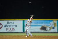 Johnson City Cardinals shortstop Mateo Gil (23) settles under a pop fly during the game against the Burlington Royals at Burlington Athletic Stadium on September 3, 2019 in Burlington, North Carolina. The Cardinals defeated the Royals 7-2 to even Appalachian League Championship series at one game a piece. (Brian Westerholt/Four Seam Images)