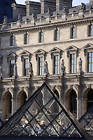 Pyramidal skylights by I. M. Pei, Pavillon Richelieu & Colbert (1857) in the background, Louvre Museum, Paris, France. Inaugurated March 30, 1989. Picture by Manuel Cohen