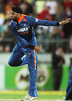 India's Harbahjan Singh bowls during 2nd Twenty20 cricket match match between New Zealand Black Caps and West Indies at Westpac Stadium, Wellington, New Zealand on Friday, 27 February 2009. Photo: Dave Lintott / lintottphoto.co.nz