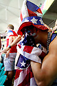 USA fan Shawheen Moridi (in the hat) at the Round of 16 USA vs Belgium match at the Fonte Nova stadium in Salvador, Brazil Tuesday, July 1st 2014. Belgium won 2-1. Photos by Jasmin Shah<br /> <br /> Shawheen Moridi: shawmoridi@gmail.com