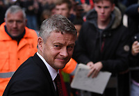 2nd November 2019; Vitality Stadium, Bournemouth, Dorset, England; English Premier League Football, Bournemouth Athletic versus Manchester United; Ole Gunnar Solskjear Manager of Manchester United arrives at Vitality Stadium - Strictly Editorial Use Only. No use with unauthorized audio, video, data, fixture lists, club/league logos or 'live' services. Online in-match use limited to 120 images, no video emulation. No use in betting, games or single club/league/player publications