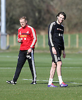 Pictured L-R: Manager Garry Monk and Michu. Saturday 08 March 2014<br />