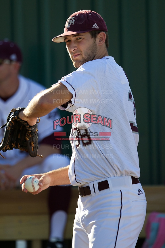 Texas A&M Aggie pitcher Michael Wacha #38 warms up prior to his start in the NCAA Regional baseball game against the Dayton Flyers on June 1, 2012 at Blue Bell Park in College Station, Texas. The Aggies defeated the Flyers 4-1. (Andrew Woolley/Four Seam Images).