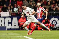 8th February 2020; Wanda Metropolitano Stadium, Madrid, Spain; La Liga Football, Atletico de Madrid versus Granada; Ismail Koybasi (Granada CF)  attempts to get his header towards goal