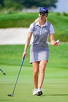 Madelene Sagstrom (SWE) after sinking her birdie putt on 1 during Saturday's third round of the 72nd U.S. Women's Open Championship, at Trump National Golf Club, Bedminster, New Jersey. 7/15/2017.<br /> Picture: Golffile | Ken Murray<br /> <br /> <br /> All photo usage must carry mandatory copyright credit (&copy; Golffile | Ken Murray)