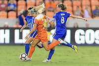 Houston, TX - Saturday July 22, 2017: Brooke Elby, Rachel Daly and Julie King during a regular season National Women's Soccer League (NWSL) match between the Houston Dash and the Boston Breakers at BBVA Compass Stadium.