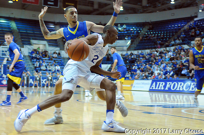 January 14, 2017:  Air Force guard, CJ Siples #2, drives the baseline during the NCAA basketball game between the San Jose State Spartans and the Air Force Academy Falcons, Clune Arena, U.S. Air Force Academy, Colorado Springs, Colorado.  San Jose State defeats Air Force 89-85.