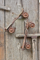 Decorations on wooden fence, Catalina Island, California