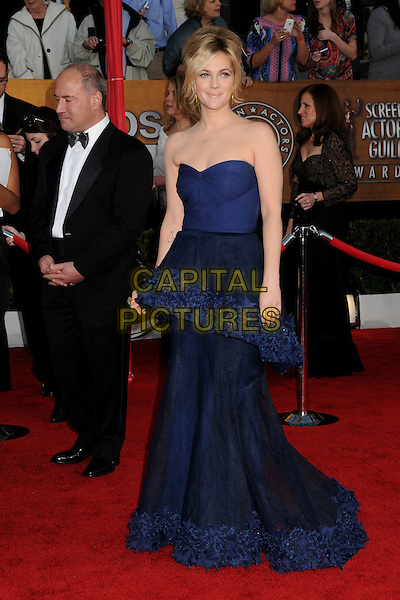 DREW BARRYMORE .16th Annual Screen Actors Guild Awards - Arrivals held at The Shrine Auditorium,  Los Angeles, California, USA, .23rd January 2010..SAG SAGs full length blue navy strapless peplum dress tiered silk trim long maxi gown dress .CAP/ADM/BP.©Byron Purvis/Admedia/Capital Pictures