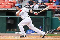 Buffalo Bisons catcher Lucas May #26 during a game against the Empire State Yankees at Coca-Cola Field on April 12, 2012 in Buffalo, New York.  Empire State defeated Buffalo 7-2.  (Mike Janes/Four Seam Images)