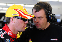 Feb. 28, 2009; Las Vegas, NV, USA; NASCAR Sprint Cup Series driver Kevin Harvick (left) talks with crew chief Todd Berrier during practice for the Shelby 427 at Las Vegas Motor Speedway. Mandatory Credit: Mark J. Rebilas-