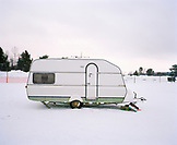 FINLAND, Artic, Nunnanen, trailer on snowy landscape