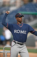 Coach Anthony Nunez (2) of the Rome Braves pitches batting practice before a game against the Greenville Drive on Friday, April 13, 2018, at Fluor Field at the West End in Greenville, South Carolina. Rome won, 10-6. (Tom Priddy/Four Seam Images)