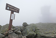 Appalachian Trail - The summit of Mount Washington in the White Mountains, New Hampshire USA during the summer months in heavy fog.