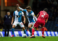 Blackburn Rovers' Bradley Dack competing with Nottingham Forest's Yuri Ribeiro (right) <br /> <br /> Photographer Andrew Kearns/CameraSport<br /> <br /> The EFL Sky Bet Championship - Blackburn Rovers v Nottingham Forest - Tuesday 1st October 2019  - Ewood Park - Blackburn<br /> <br /> World Copyright © 2019 CameraSport. All rights reserved. 43 Linden Ave. Countesthorpe. Leicester. England. LE8 5PG - Tel: +44 (0) 116 277 4147 - admin@camerasport.com - www.camerasport.com