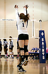 Marymount's Morgan McAlpin and Cassidie Watson get ready for the start of a college volleyball match against PSU Harrisburg at Marymount University in Arlington, Vir., on Wednesday, Oct. 9, 2013.<br /> Photo by Cathleen Allison