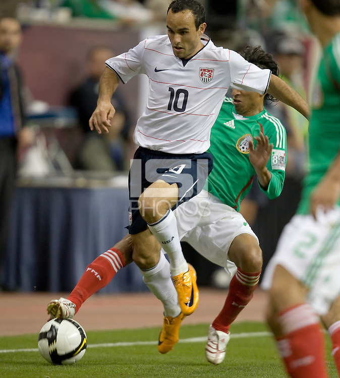 Fernando Arce tries to tackle the ball away from Landon Donovan. USA and Mexico tied, 2-2, in an international friendly at Reliant Stadium, Houston, Texas on February 6, 2008.