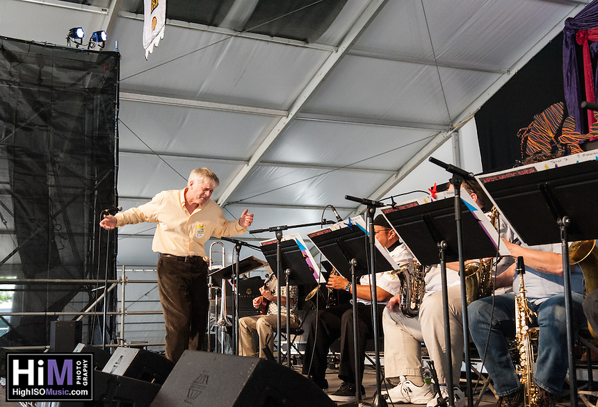 The John Mahoney Big Band performs at the 2014 Jazz and Heritage Festival in New Orleans, LA.