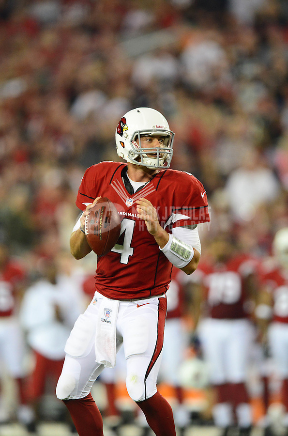 Aug. 17, 2012; Glendale, AZ, USA; Arizona Cardinals quarterback (4) Kevin Kolb against the Oakland Raiders during a preseason game at University of Phoenix Stadium. The Cardinals defeated the Raiders 31-27. Mandatory Credit: Mark J. Rebilas-