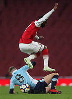 Blackpool U18's Rowan Roache vies for possession with Arsenal U18's Fol Balogun<br /> <br /> Photographer Andrew Kearns/CameraSport<br /> <br /> Emirates FA Youth Cup Semi- Final Second Leg - Arsenal U18 v Blackpool U18 - Monday 16th April 2018 - Emirates Stadium - London<br />  <br /> World Copyright &copy; 2018 CameraSport. All rights reserved. 43 Linden Ave. Countesthorpe. Leicester. England. LE8 5PG - Tel: +44 (0) 116 277 4147 - admin@camerasport.com - www.camerasport.com