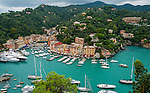 Aerial view of Portofino Bay in Liguria, Italy