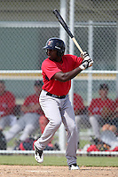 Boston Red Sox outfielder Jackie Bradley Jr #35 during an Instructional League game against the Baltimore Orioles at Buck O'Neil Complex in Sarasota, Florida;  October 6, 2011.  (Mike Janes/Four Seam Images)