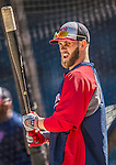 21 April 2013: Washington Nationals outfielder Bryce Harper awaits his turn in the batting cage prior to a game against the New York Mets at Citi Field in Flushing, NY. The Mets shut out the visiting Nationals 2-0, taking the rubber match of their 3-game weekend series. Mandatory Credit: Ed Wolfstein Photo *** RAW (NEF) Image File Available ***