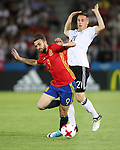 Germany's Dominik Kohr tussles with Spain's Borja Mayoral during the UEFA Under 21 Final at the Stadion Cracovia in Krakow. Picture date 30th June 2017. Picture credit should read: David Klein/Sportimage