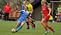 Portland, OR - Saturday April 29, 2017: Danielle Colaprico, Allie Long during a regular season National Women's Soccer League (NWSL) match between the Portland Thorns FC and the Chicago Red Stars at Providence Park.