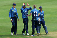 Calum Haggett of Kent is congratulated by his team mates after taking the wicket of Ravi Bopara during Kent Spitfires vs Essex Eagles, Royal London One-Day Cup Cricket at the St Lawrence Ground on 17th May 2017
